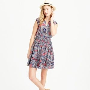 J.Crew silk paisley smocked dress size 4